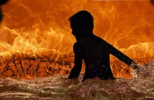 fire child silhouette