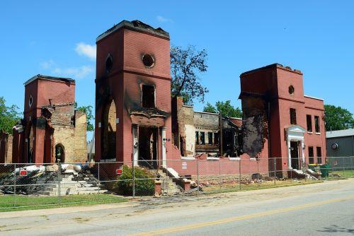 fire damage destruction church