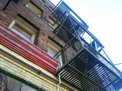 fire escape old building downtown