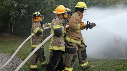 fire fighters hose training firefighter