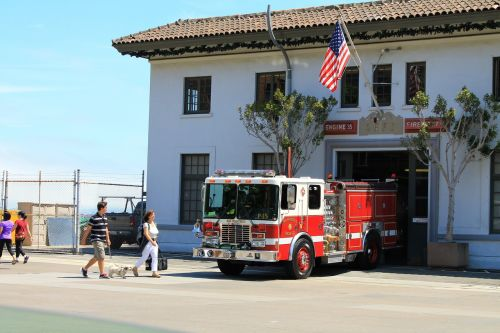 fire truck firefighters barracks