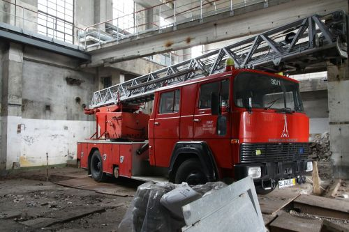 fire truck red warehouse