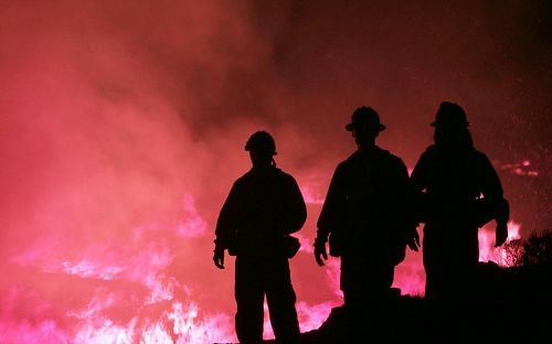 firefighters wildfire silhouettes