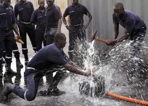 firefighters training stopping leak