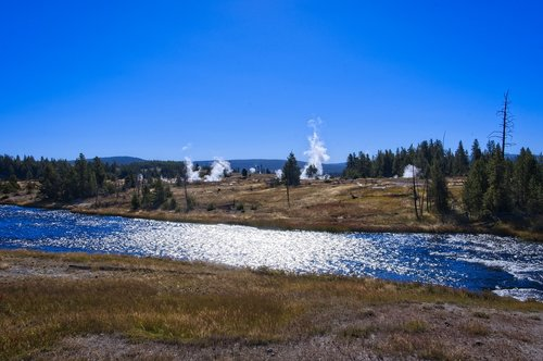 firehole at midway geyser basin  thermal  vapor