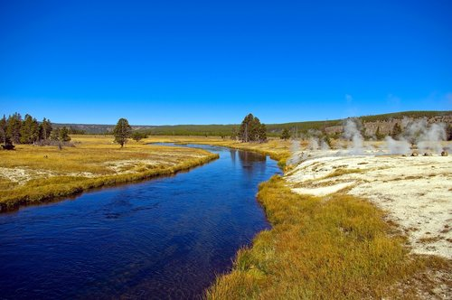 firehole river and hot springs  springs  thermal