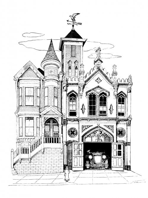 Firehouse Building Illustration
