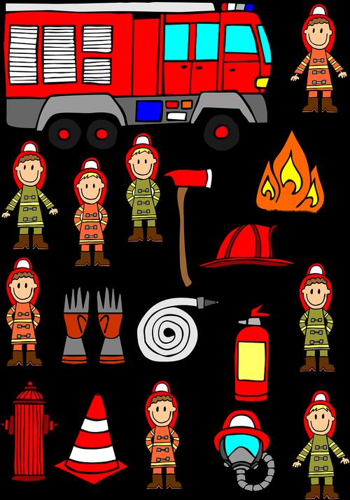 firemen  hand drawn  fire engine car