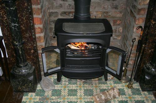 fireplace wood burning stove flame