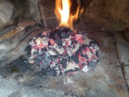 fireplace charcoal fire