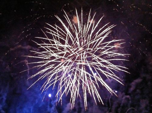 fireworks explosion night sky