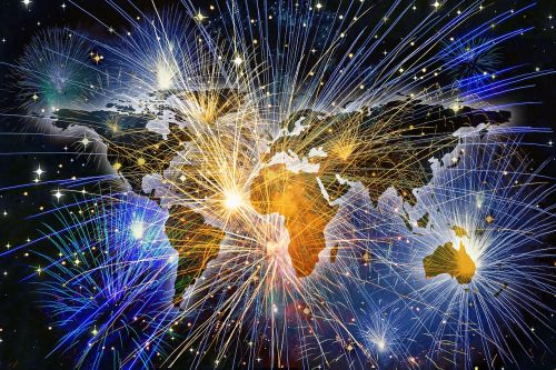 fireworks continents background