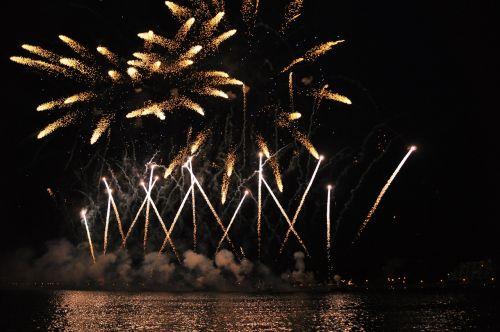 fireworks water shower of sparks
