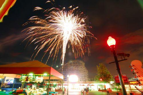 Fireworks At Amusement Park