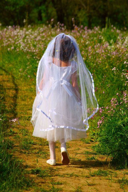 first holy communion white dress girl