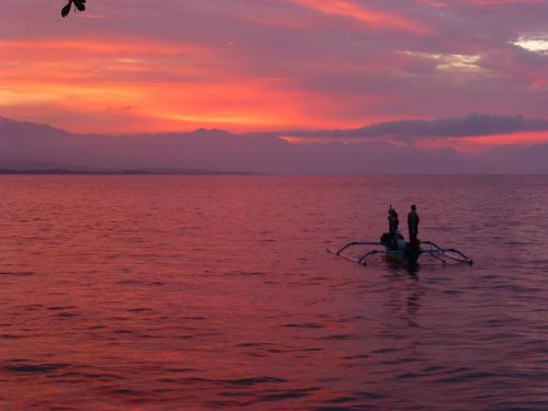 fischer indonesia sunset sea