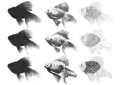 žuvis,tušas,rašiklis,figūra