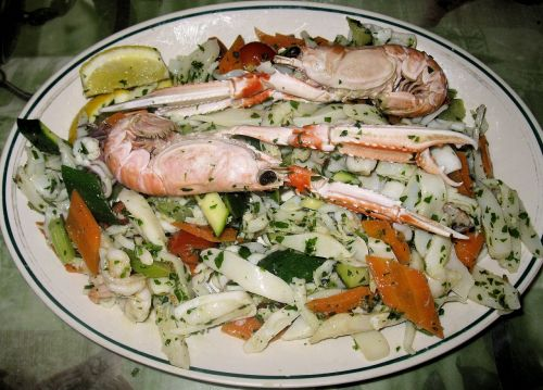 fish salad shell fish peppers