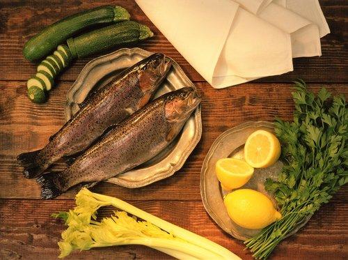 fish supper  still life  trout