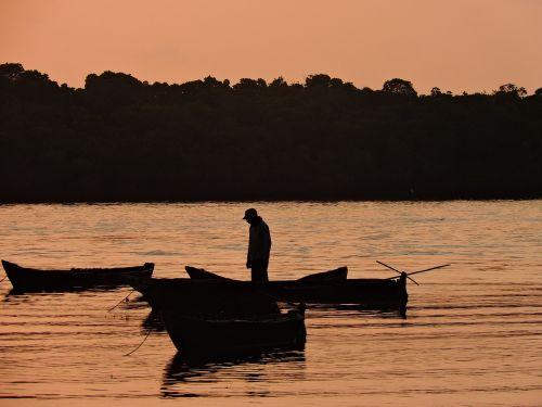 fisherman seashore morning