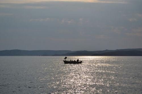 fisherman and dog fisherman adriatic sea