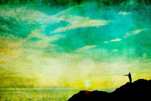 Fisherman Vintage Sunset Painting