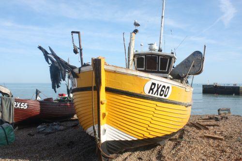 žvejyba,valtis,Hastings,geltona,kranto,papludimys,krantinė