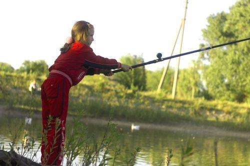 fishing girl rod
