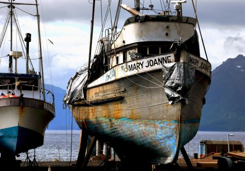 fishing boats dry dock ocean