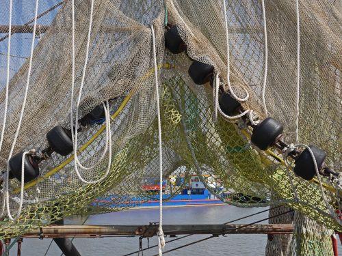 fishing net dry gathered