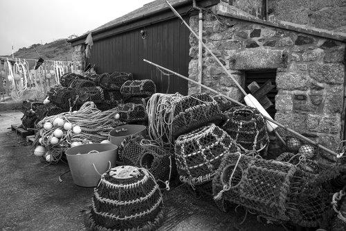 fishing nets  cornwall  fishing