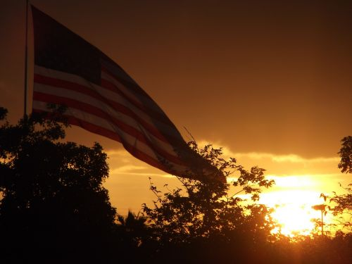 sunset patriotic flag