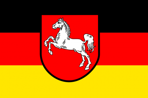 flag,lower saxony,federal republic of germany,schwarz-rot-gold,coat of arms,civil,state,black,red,yellow,horse,white,free vector graphics