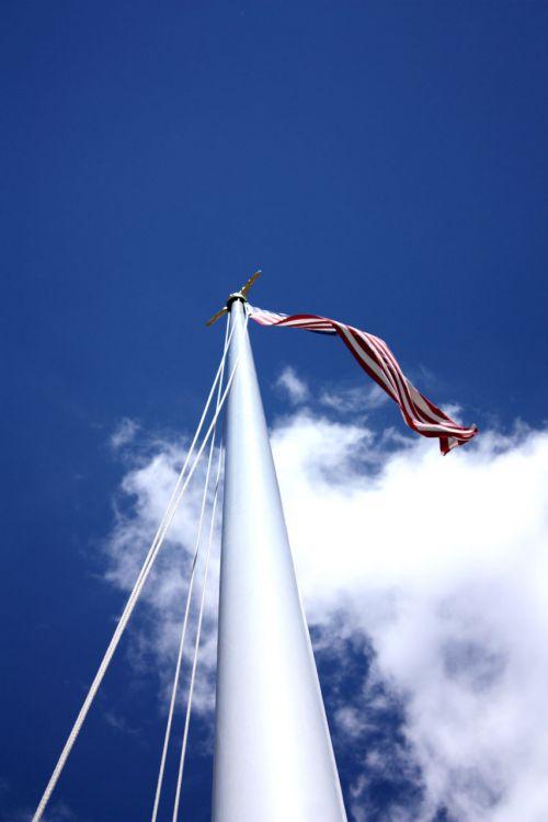 vėliava, usa, dangus, debesys, saulėtas, pole, vėjas, vėjuota, armija, vėliava
