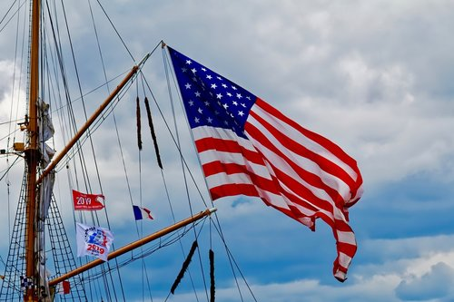 flag  usa  boat