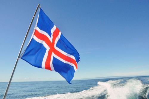 iceland, vėliava, jūra, dangus, mėlynas, laivas, iceland flag