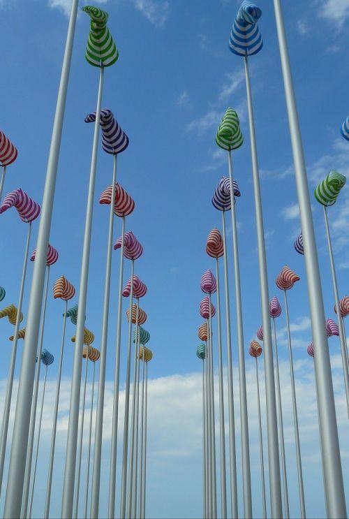 flagpole masts sky