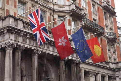 vėliavos,Londonas,geltona