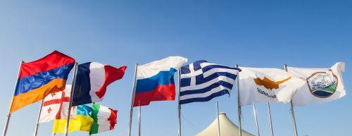 flags waving wind