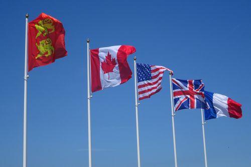 flags wind sky