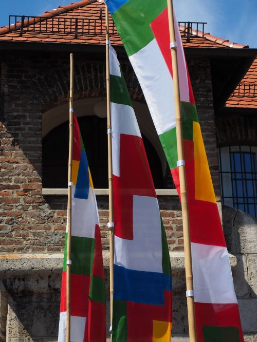 flags colorful blow