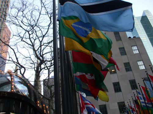 Rockefeller & nbsp, centras, naujas & nbsp, york & nbsp, miestas, tautos, vėliavos, vėliavos Rockefeller centre