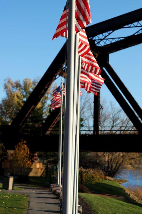 vėliava, dangus, amerikietis, žvaigždės, juostelės, 4th & nbsp, liepos, nepriklausomumas, traukinys, tiltas, vėliavos su traukinio tiltu