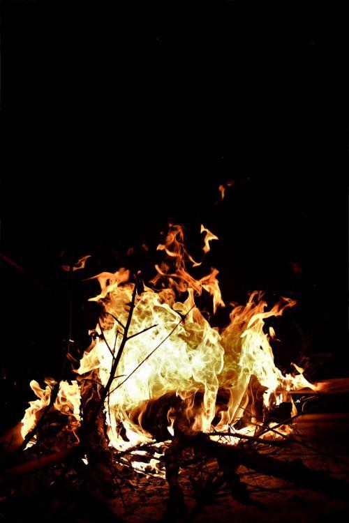 flames camping bonfire
