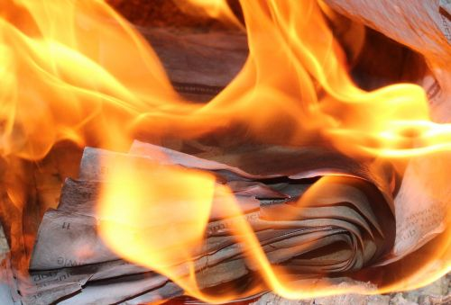 flames burn paper