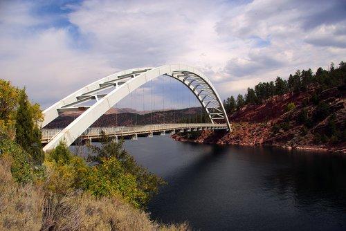 flaming gorge bridge  bridge  lake
