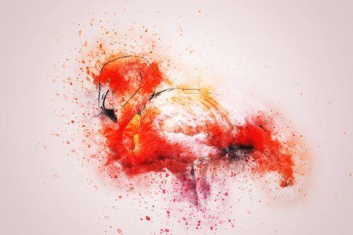 flamingo colorful art
