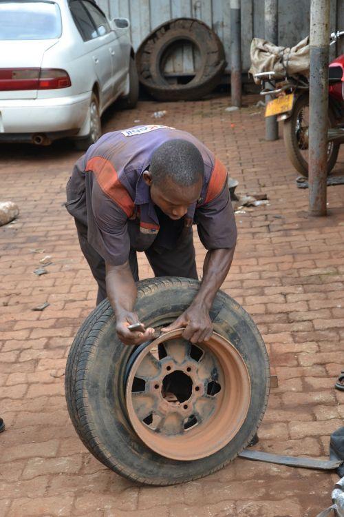 flat tire uganda car