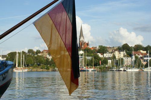 flensburgas,Vokietija,vėliava,uostas,Itai,laivai,valtys,uostas,uostas,vanduo,burės