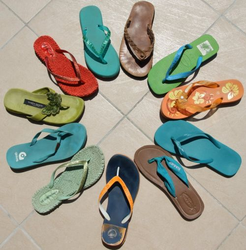 flip flops multi colored summer